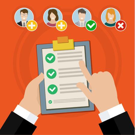 trabajo: Piso de diseño vectorial cualificación ilustración concepto de negocio Candidato entrevista de trabajo y la lista de cheque.