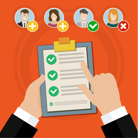 Flat design vector business illustration concept Candidate qualification job interview and check list. Stock Illustratie