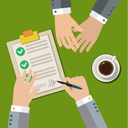 sign contract: Businessman hand sign business contract paper sheet after agreement, trendy flat design, top view.