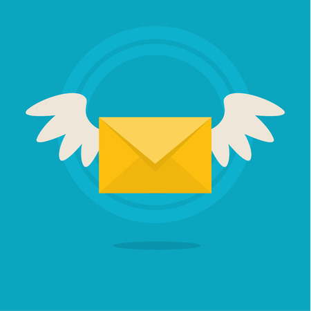 message: Vector flat colorful icon with fly letter or Short Message Service SMS. Messaging concept