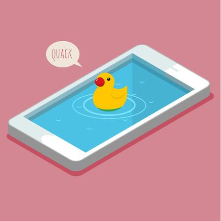 with duck: Concepto de selfie y pato cara. Pato del ba�o de goma nada en el tel�fono inteligente. Ilustraci�n vectorial Flat