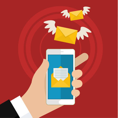 Vector flat colorful icon with fly letter or Short Message Service SMS and Mobile internet on cell phone. Messaging concept