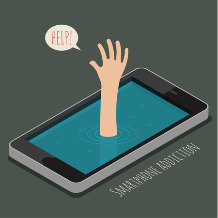 hand drown: Man drowns, only hand over the water. Concept of smartphone addiction. Flat design