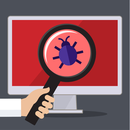programming code: Concept of searching bugs and viruses in the programming code. Flat vector illustration Illustration