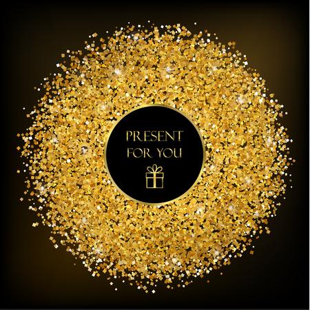 검은 색 바탕에 황금 프레임입니다. 일러스트