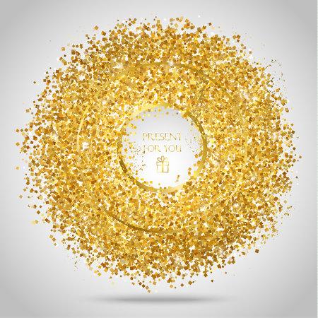 Golden frame on white background. Gold sparkles on white background. Gold glitter background.