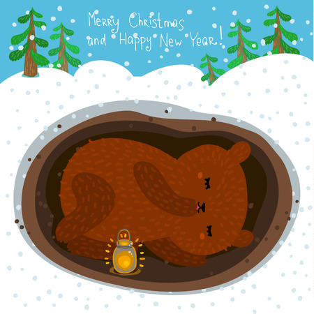lair: Holiday illustration with a cute sleeping bear. Christmas card with nice cartoon character. Winter greeting card.