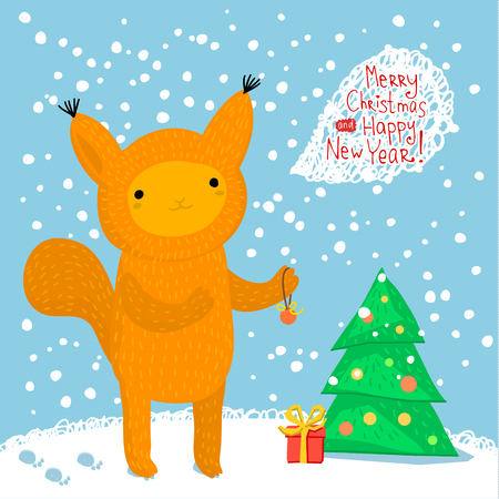 blab: Holiday illustration with a cute squirrel. Christmas card with nice cartoon character. Winter greeting card.