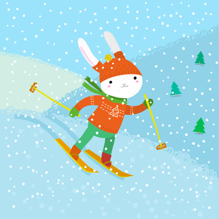 cartoon hare: Holiday illustration with a cute white rabbit skiing. Christmas card with nice cartoon animal. Winter greeting card. Illustration