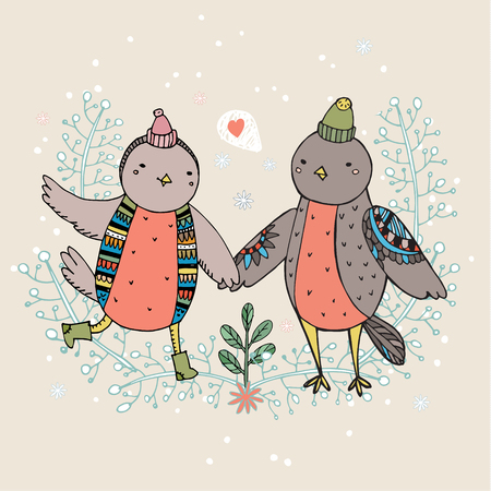 serenade: Vintage card with cute hand drawn birds are falling in love.
