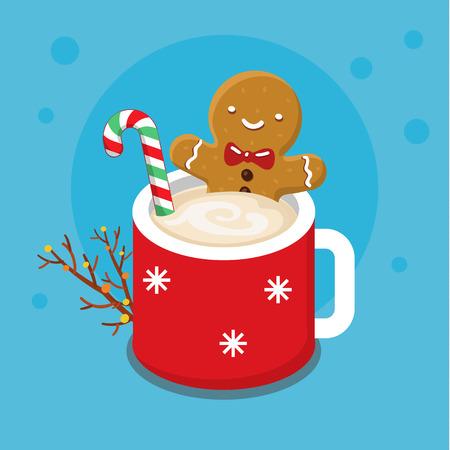 좋은 만화 캐릭터와 함께 크리스마스 카드입니다. 카푸치노의 뜨거운 컵에 진저 브레드 쿠키 남자. 평면 디자인, 벡터 일러스트 레이 션