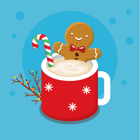 Christmas card with nice cartoon character. Gingerbread cookie man in a hot cup of cappuccino. Flat design, vector illustration Illustration