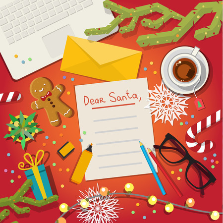 christmas concept: Christmas card concept. Merry Christmas Wish List To Santa Clause on red background. Flat design, vector illustration Illustration