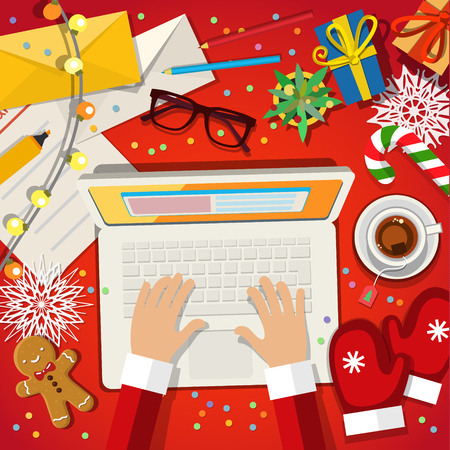 Christmas card concept. Santa Clause working on a laptop on red background. Flat design, vector illustration