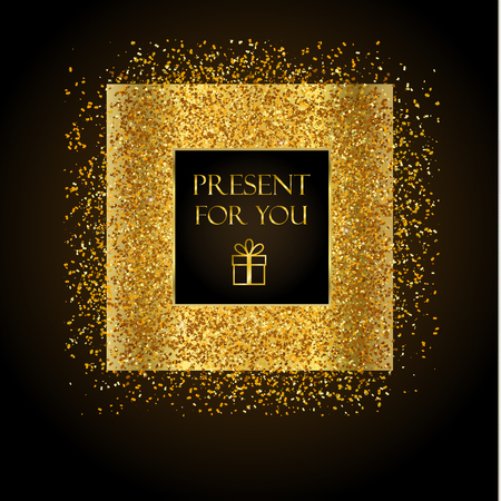 Golden frame on black background. Gold sparkles on black background. Gold glitter background.