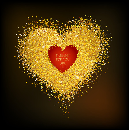 Golden frame in the shape of a heart made of golden confetti on black background. Stock Illustratie