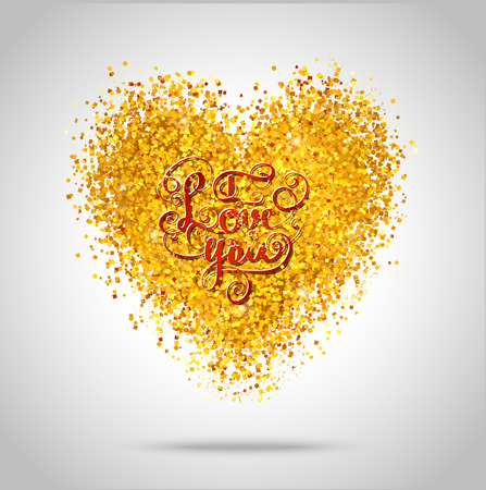 Golden frame in the shape of a heart made of golden confetti on white background.