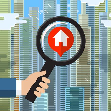 하우스 사냥과 모델 하나의 집 건물 구조를 검사 돋보기로 홈 관리자 개념 검사 할 필요가 판매 부동산 주택을 찾고. 일러스트