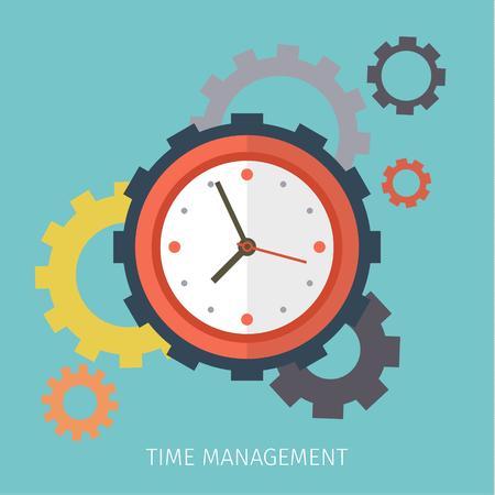 Flat design vector business illustration. Concept of effective time management. Иллюстрация