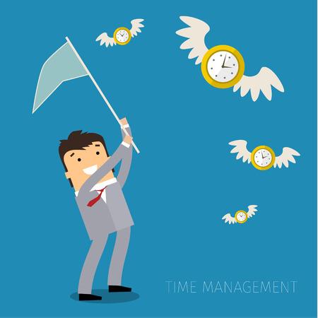 stress management: The pursuit of time. Concept of effective time management. Flat design vector business illustration