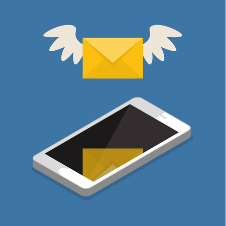 short message service: Vector flat colorful icon with fly letter or Short Message Service SMS and Mobile internet on cell phone. Messaging concept
