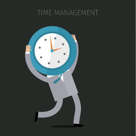 planeaci�n: Un hombre de negocios que sostiene un reloj. Concepto de gesti�n eficaz del tiempo. Dise�o plano del negocio del ejemplo del vector
