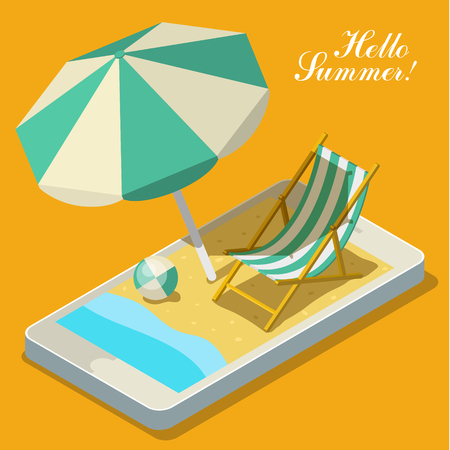 gadget: Vacation with mobile phone concept. Touch screen smart phone with different accessories for vacation. Flat style vector illustration