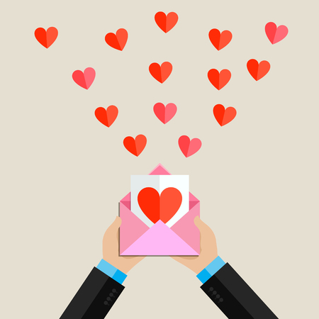 long distance: Valentines day illustration. Receiving or sending love emails and sms for valentines day, long distance relationship. Flat design, vector illustration