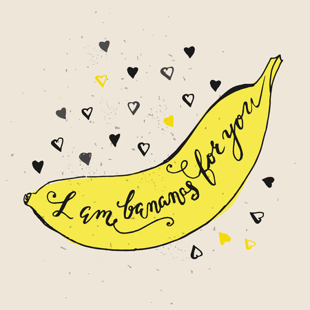 Grappige zinnen over de liefde. Hand getrokken Valentijnsdag kaart met grappige banaan en met de hand geschreven notitie. Ik ben bananen voor u