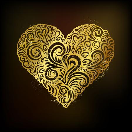 golden heart: Golden heart on black background, vector illustration