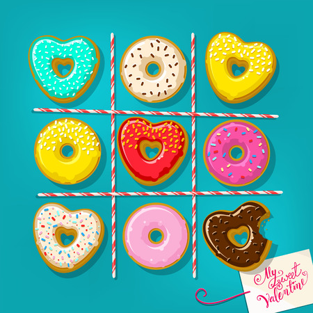 Donuts en forme de coeur avec ma douce Note Valentine sur la table. Jeu Tic Tac Toe. Design plat, illustration vectorielle