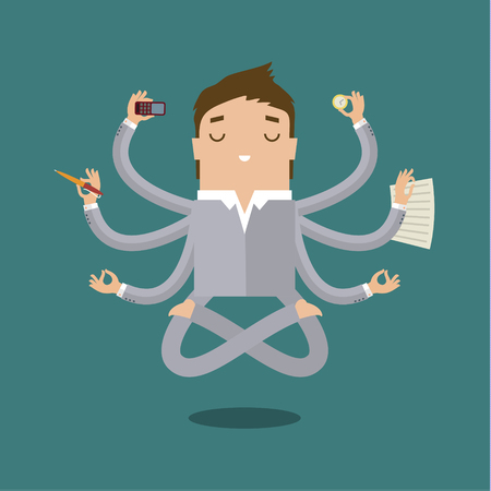 multitasking: Businessman with multitasking and multi skill. Keep calm. Business concept. Flat design Illustration