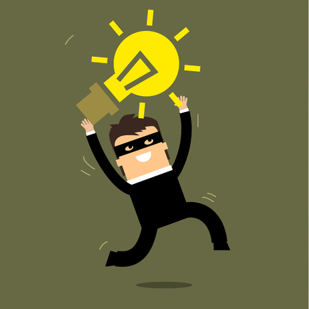 pick light: Thief stealing idea, represent with lightbulb. Flat design Illustration