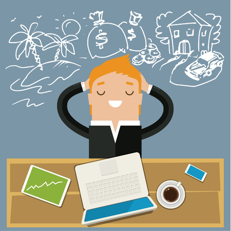 ingresos: Hombre de negocios soñando. Concepto de grandes sueños