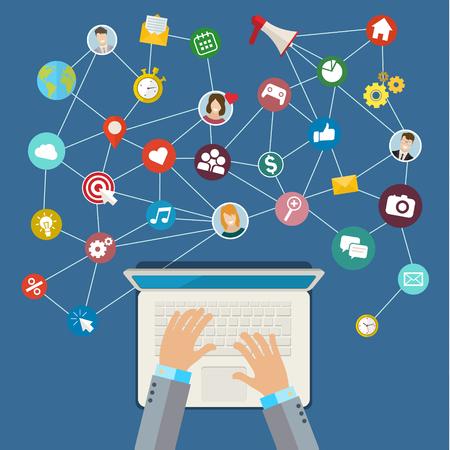 enveloped: Digital Marketing concept. Flat design, vector illustration Illustration