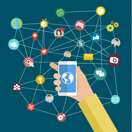 Hand holding smart phone with Internet of things word and object. Digital Marketing concept.
