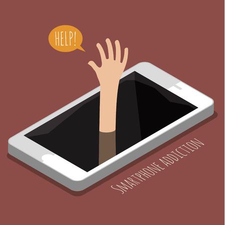 Man ertrinkt, nur Hand über das Wasser. Konzept der Smartphone-Sucht. Flaches Design