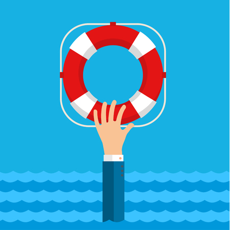 swimming belt: Flat background with hand and lifebuoy. Technical support concept. Online help.