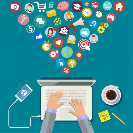 Digital Marketing concept. Flat design, vector illustration Vectores