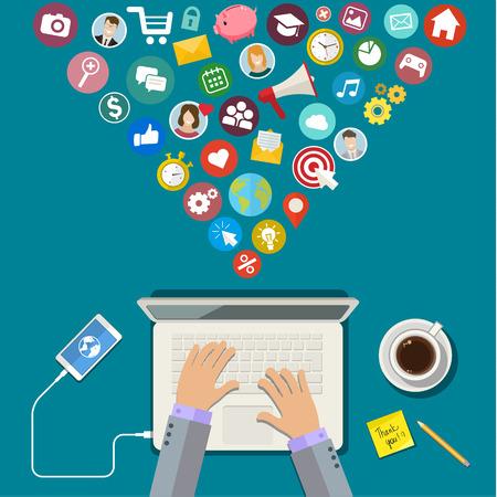 digital marketing: Digital Marketing concept. Flat design, vector illustration Illustration