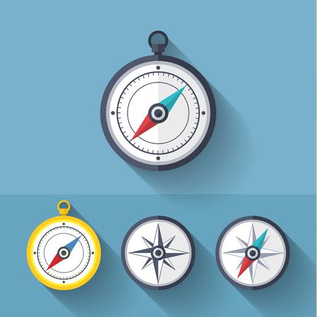compass rose: Wind rose compass vector flat trendy symbol