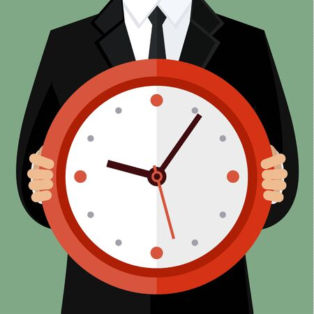 business time: Portrait of a businessman holding a watch. Concept of time management Illustration