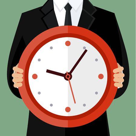 gestion del tiempo: Retrato de un hombre de negocios la celebraci�n de un reloj. Concepto de gesti�n del tiempo