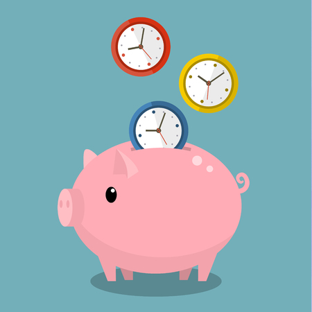 Time is money. Piggy bank with watches. Flat design vector illustration.