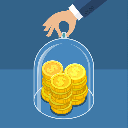 trustworthy: Concept for saving money, trustworthy business and financial services. Flat design vector illustration