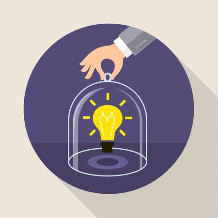 Concept voor het opslaan van intellectuele eigendom, betrouwbare zakelijke en financiële dienstverlening. Platte ontwerp vector illustratie Stock Illustratie