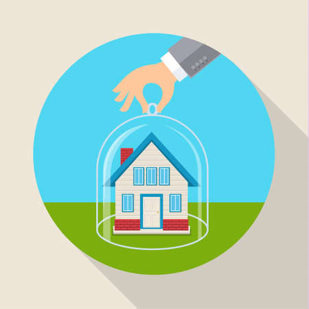hone: Concept for saving property, trustworthy business and financial services. Flat design vector illustration