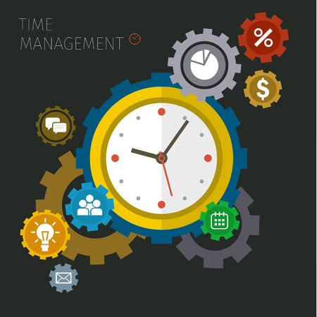 Flat design vector business illustration. Concept of effective time management. Çizim