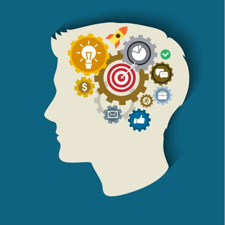Human head with gears and icons. Concept of thinking. Flat illustration. Illustration