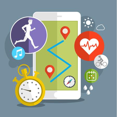 スポーツ アイコンを持つスマート フォン。タッチ スクリーン上のフィットネスのアプリのコンセプト。フラットなデザインのベクトル図